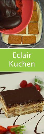 Eclair Kuchen Rezept ohne backen mit Keksen und Pudding – Kindergeburtstag Essen