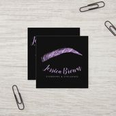 Eyebrow lashes luxury purple glitter name glam square business card | Zazzle.com