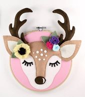 Woodland Nursery Wall Artwork  Hoop Artwork Sample  Felt Deer Head  Felt Deer Sample   Deer Stitching Sample  Boho Nursery  SVG Felt Sample