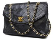 CHANEL | Diana Quilted Mark Chain Flap 234150 Black Lambskin Shoulder Ba – Vintage