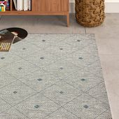 Sol 72 Outdoor Hanalei Minimal Diamonds Blue/Gray Indoor/Outdoor Area Rug Rug Size: Rectangle 5′ x 8′