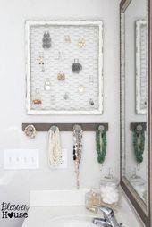 rustikale DIY Schmuck Veranstalter Wand (Blesser House), #Blesser #diy #House #Jewelry #jewelryorg …