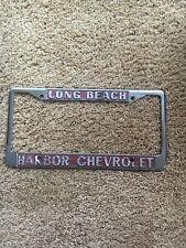 Vintage Harbor Chevrolet Long Beach Ca Metal License Plate Frame License Plate Frames Plate Frames Vintage