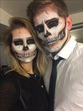 Last minute couples Halloween costume. #skullmakeup #skeleton #couplecostume #ha…