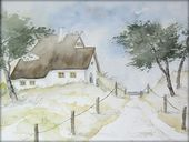 """Haus in den Dünen"" – Aquarell / Watercolor – 24 x 32 cm"