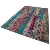 Turkish Handmade Handgefertigter Teppich Beige/Aquamarin Blue Elephant