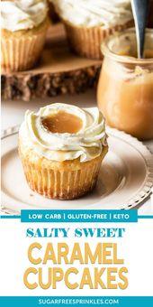 Dieses Rezept für gesalzenen Karamell-Keto-Cupcake ist ein Hit. Ein süßer Vanille-Cupcake …