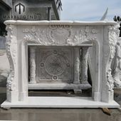 Source hand carved Indoor white marble fireplace o…