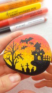Halloween town painted rock video tutorial