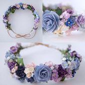 Papierblume, Brautblumenkrone, Kreis wild 20 cm., Stirnband, Rosa, Lila, Blau un… – Blumenkranz İdeen