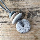 Stone Focal Cairn Necklace | Granite Beach Rock Necklace on Faux Suede Cord | …