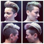 blonde Hälfte rasiert Frisur herrlich kreative Farbplatzierung von Catherine Haarschnitt von Aimee Galerie getan