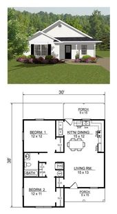 Offenes Konzept, kleiner Hausplan mit zwei Schlafzimmern.