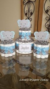 Satz von 3 blau und grau Elaphant Mini Windel Kuchen Baby Shower Herzstück   – Kinderbasteln