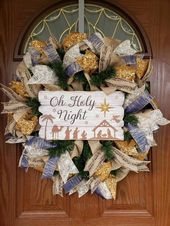 Christmas wreath, Rustic Christmas wreath, Oh Holy Night, Winter front door wreath, Rustic decor, Gift ideas, Religious Wreath, Music wreath