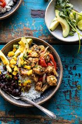 Sheet Pan Cuban Chicken and Black Bean Rice Bowl.