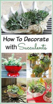 11 schöne Möglichkeiten, mit Sukkulenten zu dekorieren  #dekorieren #mit #Mög… – Wohndeko ideen