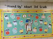 Hallway bulletin board. The kids pictures will go on each robot.
