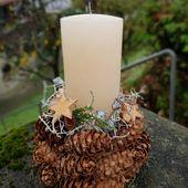 Kerzen Deko mit Tannezapfen