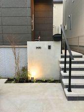 モルタル仕上げの門柱 玄関ポーチ 階段 玄関 コンクリート 玄関 前