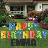 WOJOGO Happy Birthday Yard Signs 17in Large Happy Birthday Letters Lawn Sign for Birthday Party Decoration
