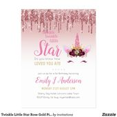 Baby Showers Twinkle Twinkle Little Star Rose Gold Pink Unicorn Glitter