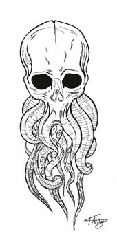 Skull / octopus / tentacles / tattoo / drawing / IPad Pro / black and white – #B…,  #Black …