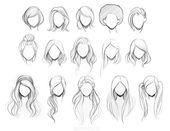 Skizzen für weibliche Frisuren – #desenho #hairstyle #sketches #female frisuren | Bob Frisure…