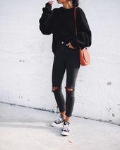 13 lässige Outfits für einen schicken schwarzen Look – Outfit