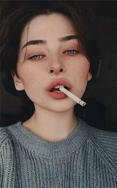 Sovemba, cigarette, girl, portrait, black hair, sweater, freckles #boymakeup Sov…
