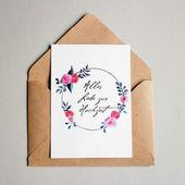 Grußkarte zur Hochzeit Rose • andbuttercups • Illustration   – Hochzeitspapeterie