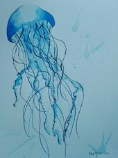 Aquarellbild einer Qualle in zarten Blautönen / watercolour picture of a jellyfish made by Martina Kaschlan via DaWanda.com
