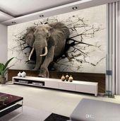 Großhandel Custom 3D Elephant Wandbild Personalisierte Giant Fototapete Innendekoration Wandbild Tierwelt Tapete Kinderzimmer Dekor Wandkunst Von Greenho, $24.92 Auf De.Dhgate.Com