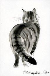 2011-02-179 Katze Aquarellzeichnung – Cats Galore