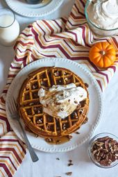 Pumpkin Spice Waffles with Maple Whipped Cream | The Kitchenthusiast – #cream #K…