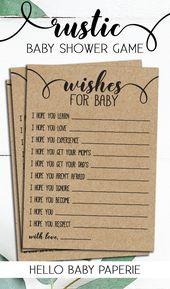 Wünsche für Baby, Rustikale Babyparty, Geschlechtsneutral, Babypartyspiele, Woodsy, Woodland, Rustikal, R01   – Rustic Baby Shower