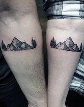 Man With Simple Forest And Mountain Black Ink Forearm Tattoo #Tattoosformen
