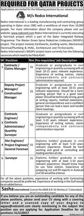 Redco International Jobs In Qatar  December  Express