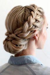 Geflochtene Prom Hair Updos für ein anmutiges Bild #braided #bridalhair #gradua… – flechten 2018