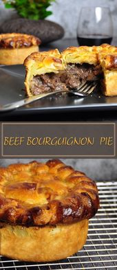 Beef bourguignon pie with, mushrooms, pancetta or bacon and red wine creating a …