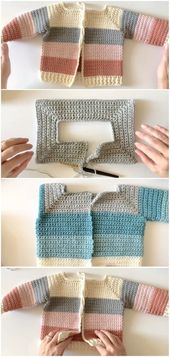 Crochet Four Color Sweater – Baby and Toddler – …