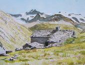 Reproduction d'aquarelle : un chalet d'alpage dans le massif de la Vanoi…