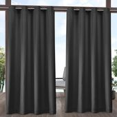 Amalgamated Textiles Indoor Outdoor Solid 54 in. W x 108 in. L Grommet Top Curtain Panel in Winter White (2 Panels)