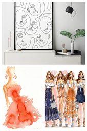 Druckbare abstrakte Gesichter in Linien, eine Linie Artwork Print, Mode Poster, minimalistische Frau Zeichnung, moderne Dekor, Mädchen Gesicht Skizze…