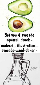 Set von 4 avocado aquarell druck – malerei – illustration – avocado-wand-dekor – süße mode druck 20