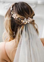 Floral Headpiece, Bridal Halo, Bridal Circlet, Wedding Headband For Bride, Gold Bridal Crown, Wedding Flower Crown-EMMA