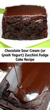 Chocolate Sour Cream (or Greek Yogurt) Zucchini Fudge Cake Recipe – Mom Secret I…