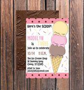Eiscreme-Geburtstagsfeier-Eiscreme laden netten Geburtstag ein | Etsy   – Shop Small: Party Supplies + Party Decor