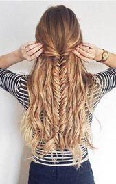 Beste Frisuren Half Up Half Down für die Schule Fishtail Braids 35 Ideas #braids