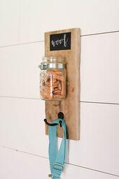 DIY Dog Dog Treat and Leash Mason Jar Holder - Our Handcrafted Life